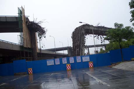 A bridge in Dujiangyan City collapsed during the earthquake.