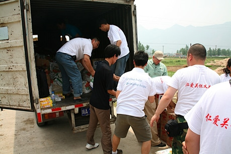 Operation Blessing delivers relief supplies to families in need after the Sichuan earthquake.