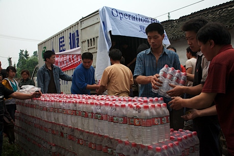 Operation Blessing brings bottled water to areas of Chengdu that are lacking access to water after the recent earthquake.