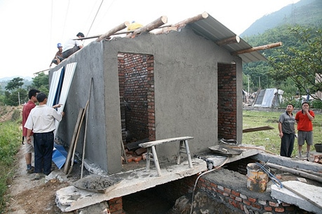 A home is rebuilt after the devastation caused by the Sichuan earthquake.