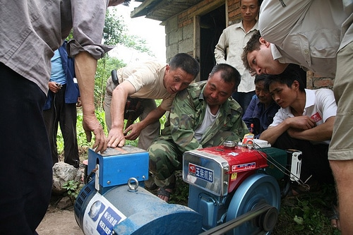 In the mountain villages, we connected a generator to an electric well pump that has been out of action since the quake.