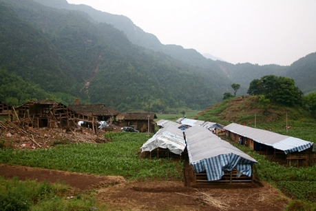The remote community of Yang Yim has already begun to construct temporary housing for the residents.