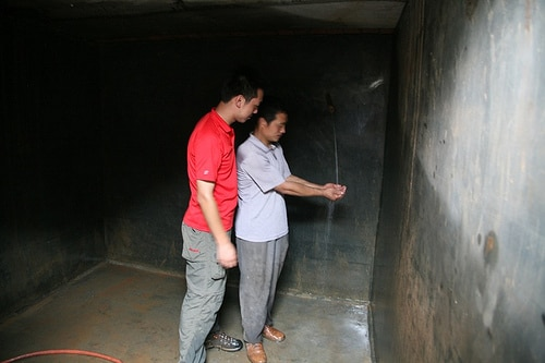 Operation Blessing took on the task of repairing the village's water tank that sustained damage during the quake.