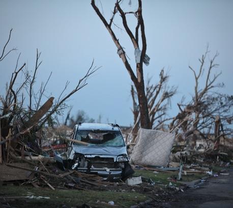 A mangled car from the Joplin tornado.