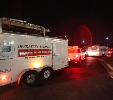 Operation Blessing convoy of relief arrives to Joplin, Missouri.