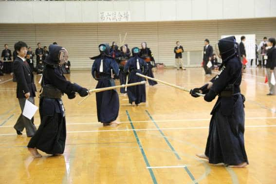 Middle school students compete in the martial art of Kendo in Japan