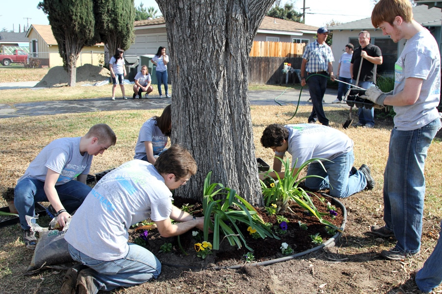 Planting flowers to help a family facing breast cancer.