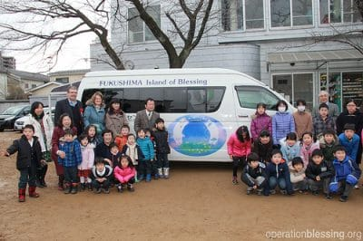 Fukushima Children Pose with New Bus