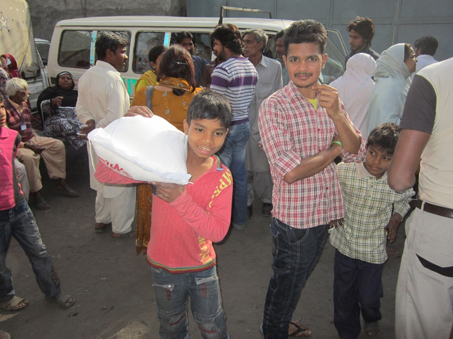 Aid in Lahore, Pakistan.