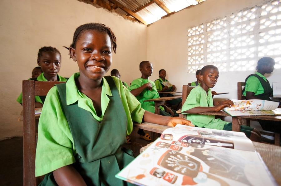 Elizabeth, an orphan in Liberia, attends school.