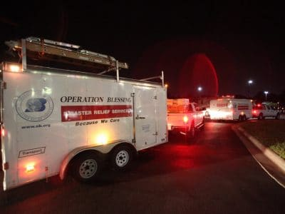 Operation Blessing's disaster relief convoy heads to tornado disaster zone.