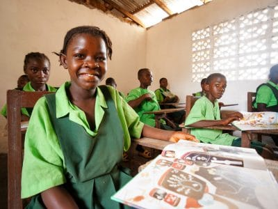 Elizabeth, an orphan in Liberia, attends school.