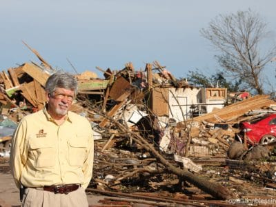 Bill at the site of a tornado-devastated neighborhood in Moore, Oklahoma.