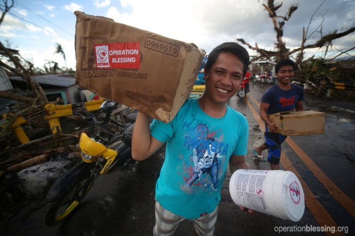 Boxes of food and relief arrive to remote communities devastated by Typhoon Haiyan.