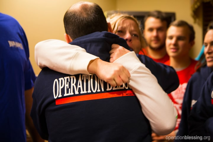 Lisa hugs Operation Blessing staff
