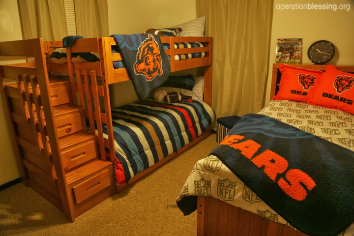 A new bedroom for the family's three boys.