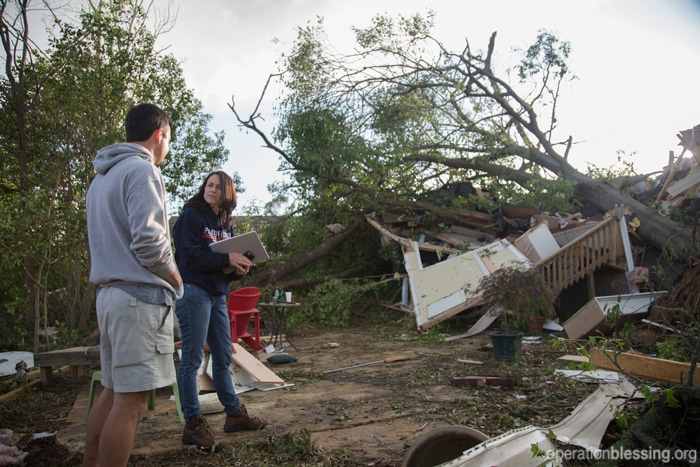 Operation Blessing is on the ground in Tupelo, Mississippi, helping disaster victims with clean-up