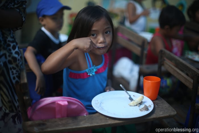 Operation Blessing is sponsoring a feeding program at the school.