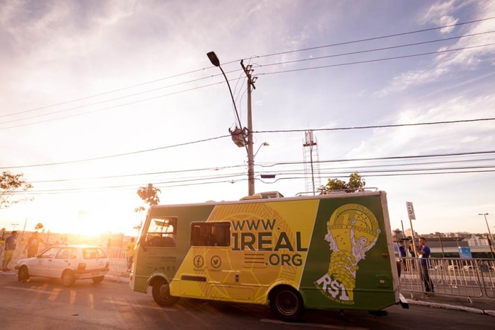 Un Real RV traveling through Brazil during the World Cup