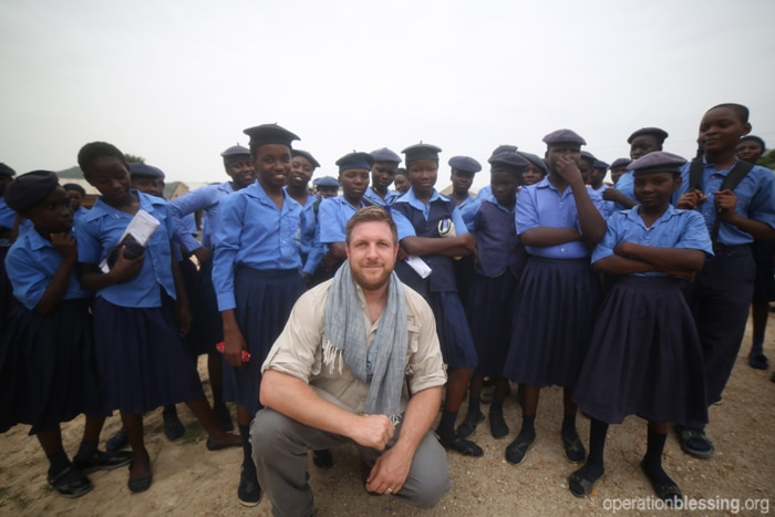 OBI's David Darg with Nigerian school children