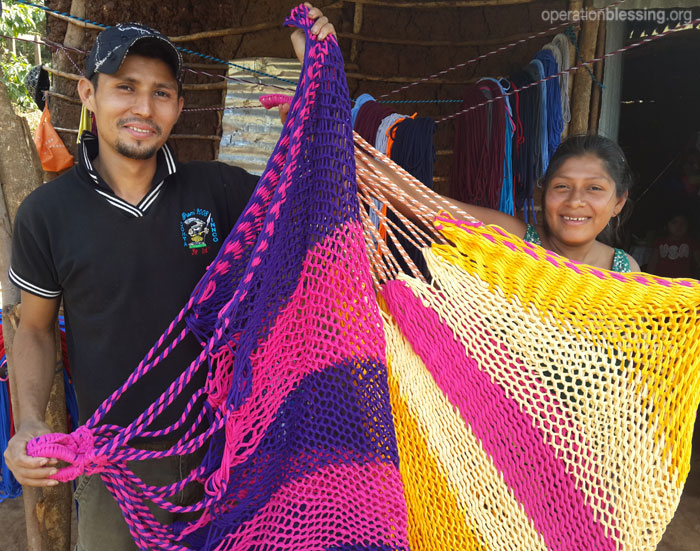 Operation Blessing helps a family overcome hunger by giving them the supplies to make hammocks
