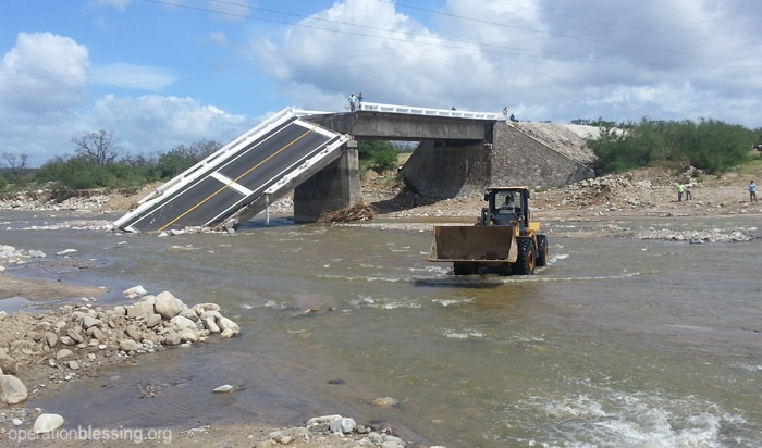 A bridge in Cabo washed out from the hurricane.