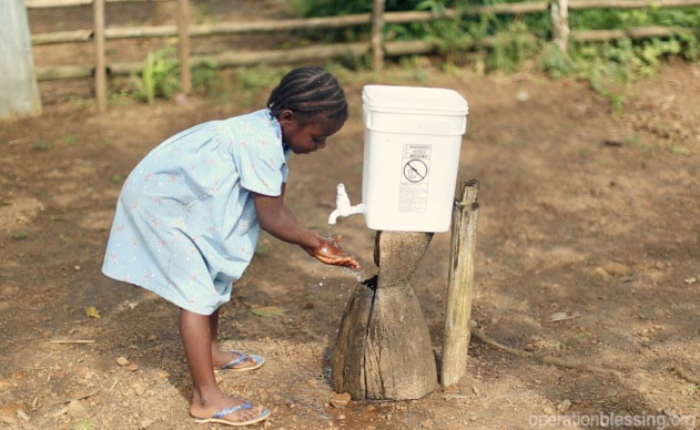 much-needed food supplies and chlorine for hand-washing and disinfecting surfaces to protect the children from Ebola.