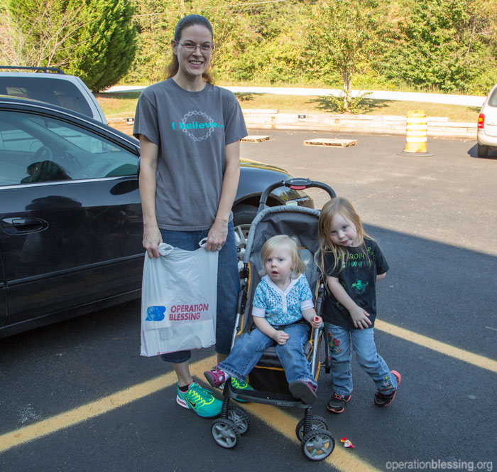 A family receives the gift of food when they need it most thanks to an Operation Blessing-supported food pantry.