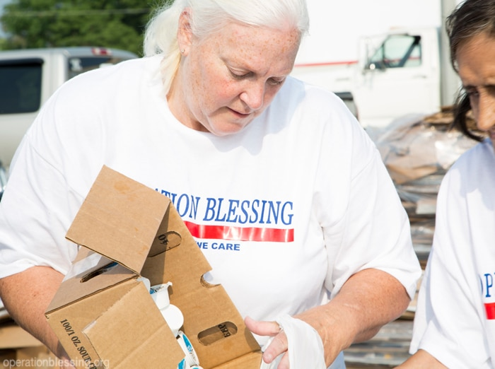 Linda helps sort and distribute food and supplies for families in need in Pennsylvania.