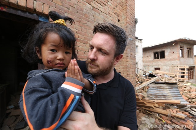 OBI's David Darg with little Bihani in Nepal.