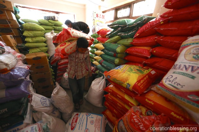 Operation Blessing distributed two tons of food to earthquake victims.