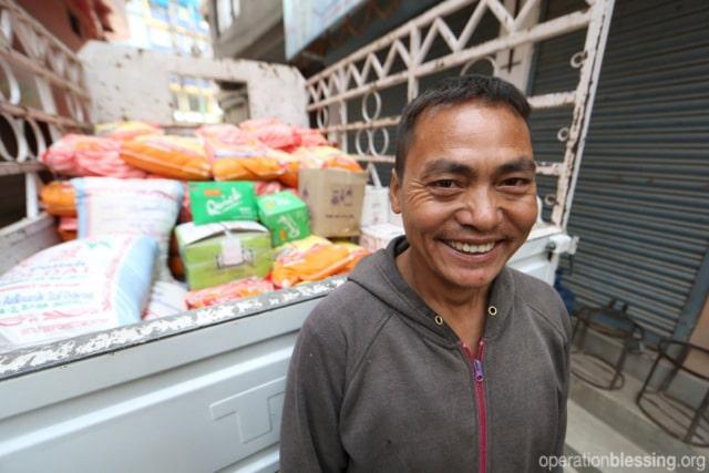 Emergency food distribution in Nepal.