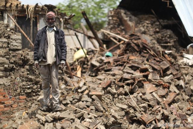 Destruction in remote villages in Nepal.