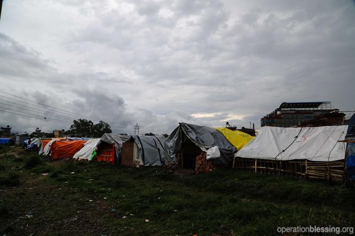 A tent city in monsoon season