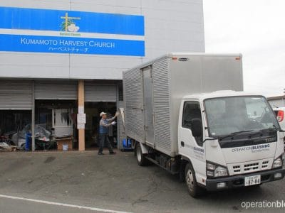 The Operation Blessing truck arrives at a local church near the earthquake's epicenter.