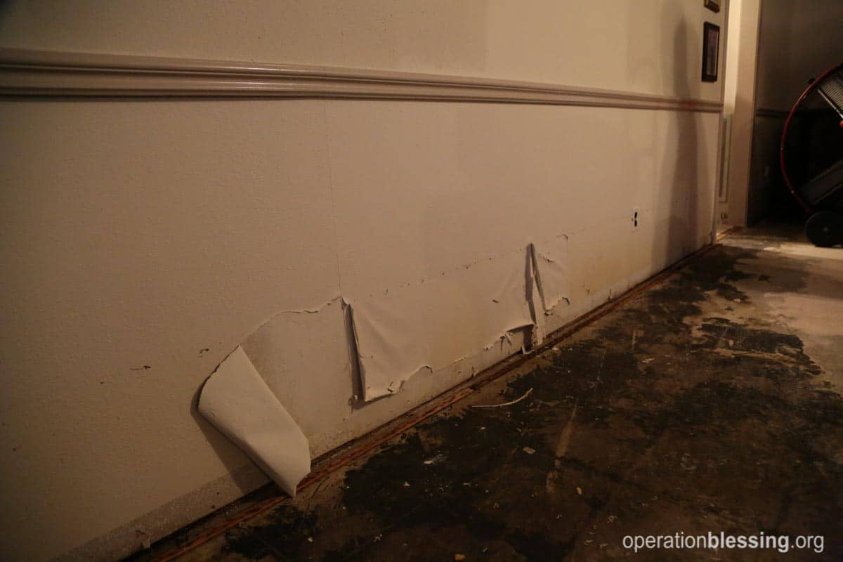 Water damage from flooding in Texas