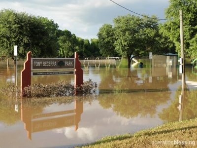 Torrential rains left flooding in Rosenberg, Texas.