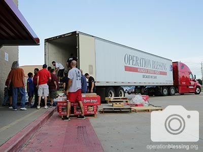 Relief arrives in an Operation Blessing truck for survivors of deadly Texas floods.