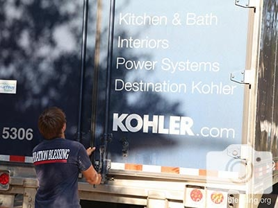 Kohler donates 500 water filtration units via this truck.