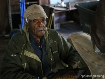 William (pictured) and his wife start anew after Hurricane Matthew.