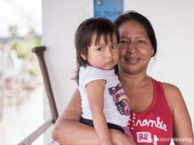 Jasmin and her daughter (pictured) live in the Peruvian jungle.
