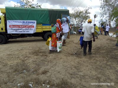 Families in Kwale County, Kenya receive relief from OBI.