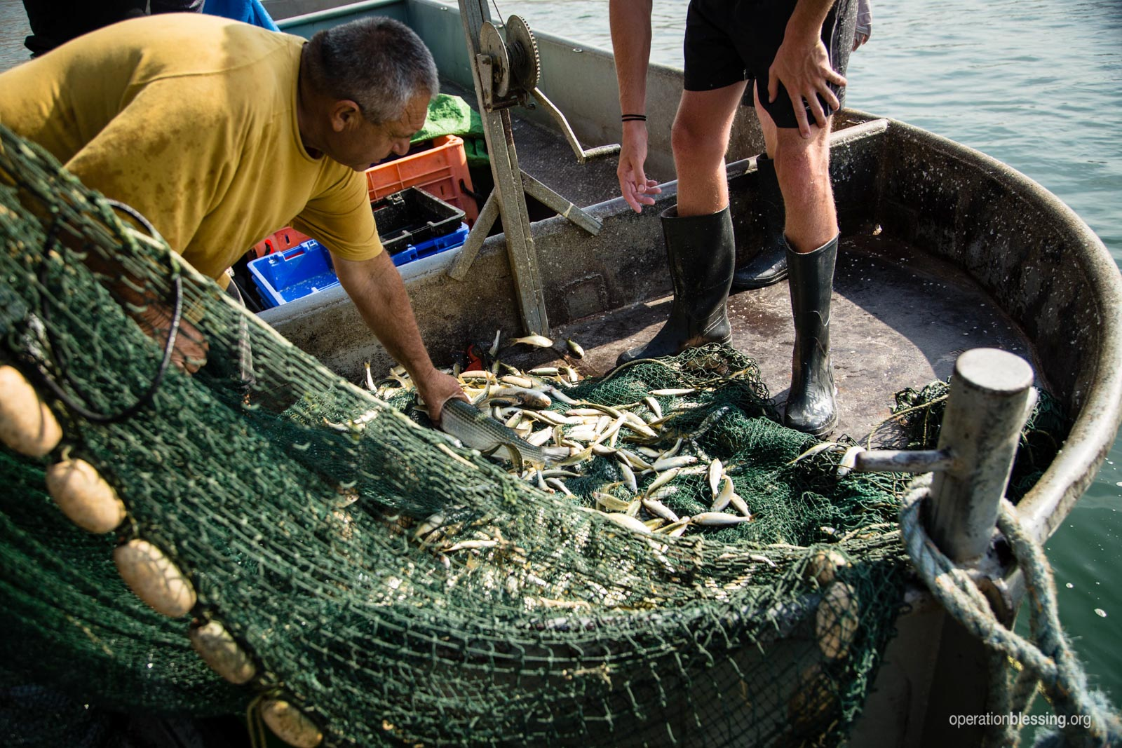Fishermen sort through the catch in a net.