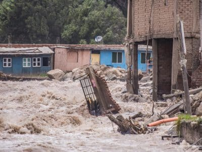 Powerful floods turn a Peruvian road into a river.