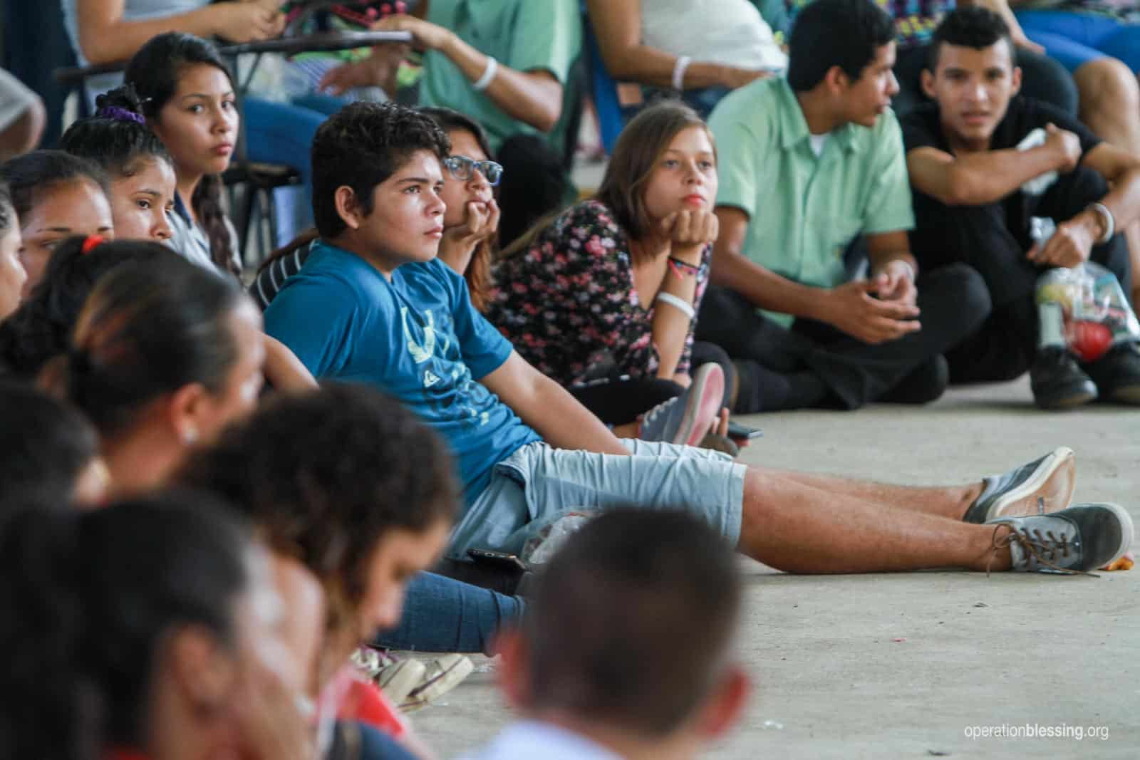 Young people listen intently to a presentation on how to deal with sexual abuse at an event organized by Seeds of Hope, an Operation Blessing partner in Costa Rica.