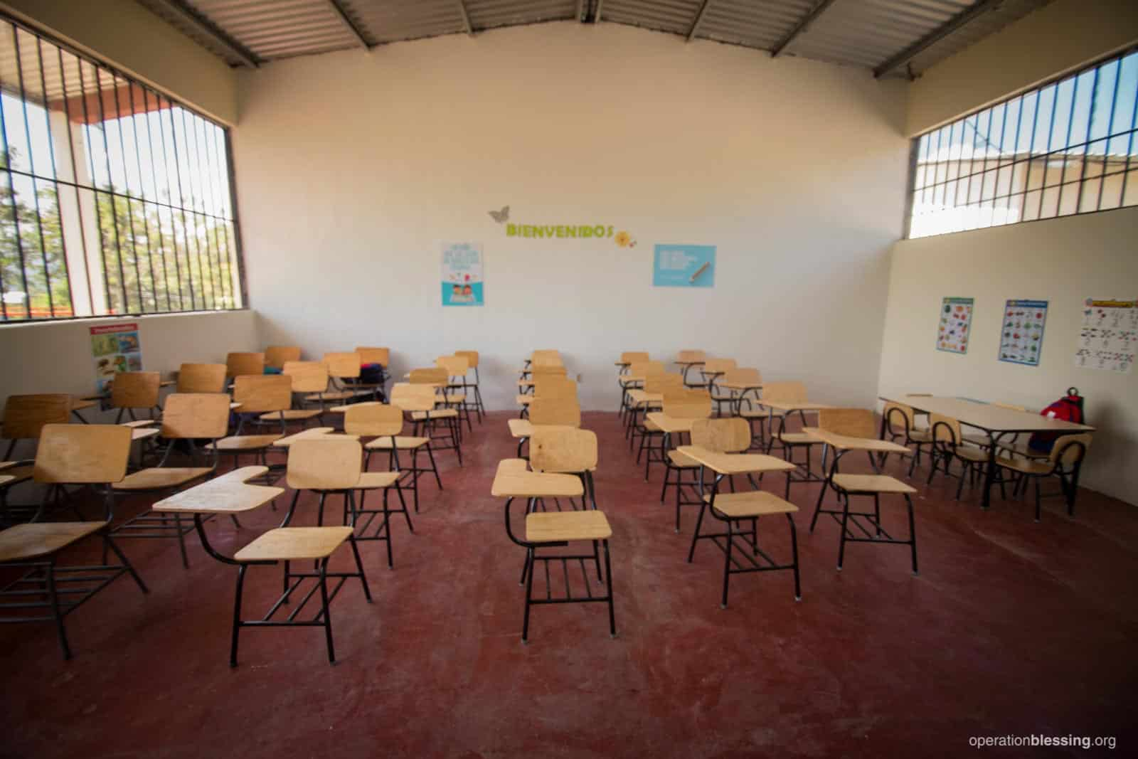 The bright and airy new classroom OBI built for a community in Honduras.