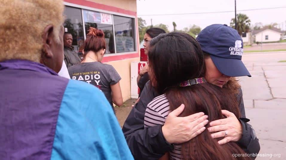Operation Blessing workers offer encouragement, hugs, and a shoulder to cry on.