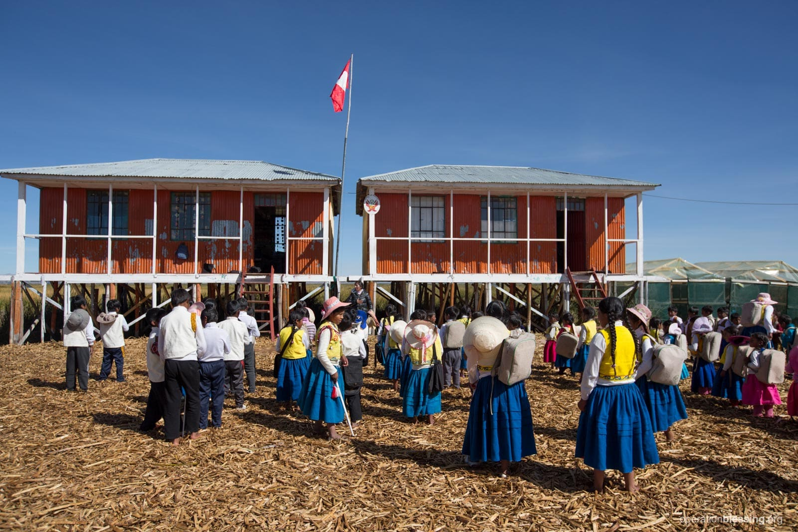 The school building for the children of the Floating Uros Islands.