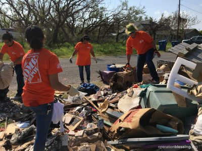 Committed volunteers from Home Depot are giving their time to help Operation Blessing's hurricane recovery efforts for the people of Texas.