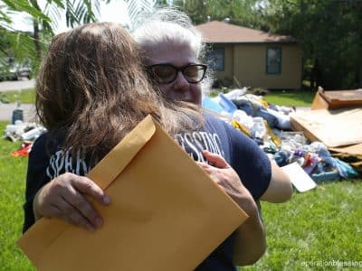 Only two days after Ruth Anne sent her Hurricane Harvey recovery request, Operation Blessing arrived at her house with a warm hug and plenty of help.